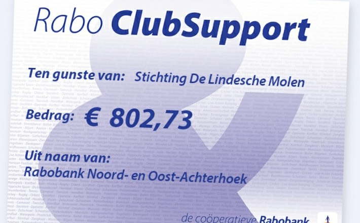 Cheque Rabo ClubSupport 2020